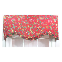 RLF HOME - Norwell Red Ruffled Cornice Valance - A whimsical multi color floral printed on a red ground is accentuated with a coordinated plaid french pleated ruffle along the bottom edge. This valance is made with a three-inch rod pocket to fit a 2.5-inch continental or standard rod.