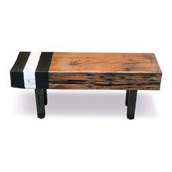 eastmantribe - Black and White Sitting Bench - The Black & White bench is made of thick industrial wood rescued from a northern PA warehouse. Painted black and white stripes add a unique element to the rugged piece. Coated in natural clear finish, this bench is multifunctional and a keeper for years to come.