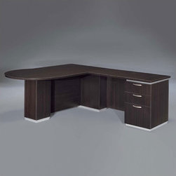 """DMi - Pimlico 72"""" W Right Peninsula L-Shape Executive Desk (Fully Assembled) - Features: -Right peninsula L-shape desk.-Chasis is made of wood.-Nickel drawer pulls.-Satin aluminum bases and framed frosted glass modesty panels and doors.-Edges with a slight recessed angle and tops separated from chassis.-Box / box / file drawer in the return pedestal.-Pencil tray in the top box drawer.-Kneehole locking pedestal.-Grommet on return modesty panel.-Pimilico collection.-Distressed: No.Dimensions: -Desk: 30'' H x 72'' W x 42'' D.-Return: 30'' H x 48'' W x 24'' D.-Overall dimensions: 30'' H x 72'' W x 90'' D.-Overall Product Weight: 414 lbs."""