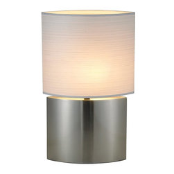 Adesso - Adesso Sophia Contemporary Tall Table Lamp X-22-1246 - An almond-shaped shade and coordinating almond-shaped body help to create a sleek, modern look to this Adesso table lamp. From the Sophia Collection, this contemporary table lamp comes finished in a sleek Satin Steel hue that pairs beautifully with the coordinating Thai silk shade.