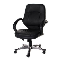 Pu Office Chair Black Armchairs With Tilting Function Thick Padding Swivel Compu - Product Description: