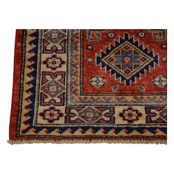 2'x3' Super Kazak Hand Knotted Tribal Design 100% Wool Red Oriental Rug Sh18485 - Our Tribal & Geometric hand knotted rug collection, consists of classic rugs woven with geometric patterns based on traditional tribal motifs. You will find Kazak rugs and flat-woven Kilims with centuries-old classic Turkish, Persian, Caucasian and Armenian patterns. The collection also includes the antique, finely-woven Serapi Heriz, the Mamluk Afghan, and the traditional village Persian rug.