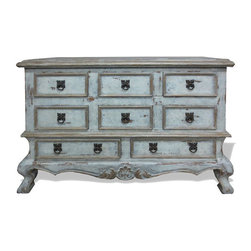 Koenig Collection - Old World Traditional Dresser Classic, Weathered Creams - Classic Dresser, Weathered Creams, Gray, and Gold Leaf