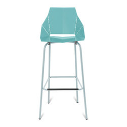 Blu Dot - Blu Dot Real Good Barstool, Aqua - Thin is in. Powder-coated steel ships flat and folds along laser-cut lines to create a dynamic and comfortable chair. As skinny as a supermodel yet far more sturdy. Available in aqua, ivory and white with gray legs or two glossy tone-on tone colors: satin black or humble red. Also available in copper.