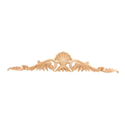 """GlideRite Hardware - Hand-Carved Solid Hardwood Shell Leaf Applique, Maple, Large - GlideRite brand Applique, hand-carved by skilled craftsmen and from grade """"A"""" North American solid Hardwoods.  These ornamental high quality Applique's are triple sanded and ready to accept paint or stain.  This applique is available in three sizes: 3-3/8"""", 4-3/8"""", 5-3/4"""", and three wood types: Red Oak, Hard Maple, & Cherry - the perfect architectural upgrade to any kitchen or den."""