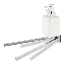 StilHaus - 13 Inch Double Towel Bar with Ceramic Soap Dispenser, Chrome - Double towel bar with attached white ceramic soap dispenser. Made of brass in 2 available finishes. Double towel bar made of brass. Available in 2 finishes. Attached soap dispenser made of white ceramic. From StilHaus Urania Collection.