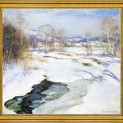 """Willard Leroy Metcalf-16""""x20"""" Framed Canvas - 16"""" x 20"""" Willard Leroy Metcalf Icebound Brook (also known as Winter's Mantle) framed premium canvas print reproduced to meet museum quality standards. Our museum quality canvas prints are produced using high-precision print technology for a more accurate reproduction printed on high quality canvas with fade-resistant, archival inks. Our progressive business model allows us to offer works of art to you at the best wholesale pricing, significantly less than art gallery prices, affordable to all. This artwork is hand stretched onto wooden stretcher bars, then mounted into our 3"""" wide gold finish frame with black panel by one of our expert framers. Our framed canvas print comes with hardware, ready to hang on your wall.  We present a comprehensive collection of exceptional canvas art reproductions by Willard Leroy Metcalf."""
