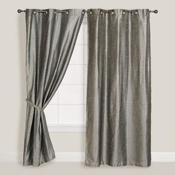 Silver Dupioni Grommet Top Curtain -