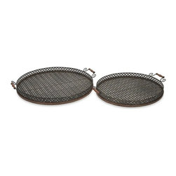 "IMAX - Regency Oversized Trays - Set of 2 - Great for entertaining, the Regency oversized trays are perfect for an outdoor barbeque or party.  Item Dimensions: (3.5""h x 29.5""w x 26.5"")"