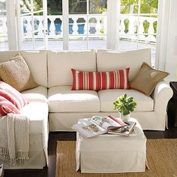 """PB Comfort Roll Arm 3-Piece L-Shaped Corner Sectional Slipcover, EverydayVelvet - Designed exclusively for our PB Comfort Sectional, these soft, inviting slipcovers retain their smooth fit and remove easily for cleaning. Left 3-Piece Sectional with Box Cushions shown. Select """"Living Room"""" in our {{link path='http://potterybarn.icovia.com/icovia.aspx' class='popup' width='900' height='700'}}Room Planner{{/link}} to select a configuration that's ideal for your space. This item can also be customized with your choice of over {{link path='pages/popups/fab_leather_popup.html' class='popup' width='720' height='800'}}80 custom fabrics and colors{{/link}}. For details and pricing on custom fabrics, please call us at 1.800.840.3658 or click Live Help. All slipcover fabrics are hand selected for softness, quality and durability. Left-arm configuration is shown; also available in right-arm configuration. {{link path='pages/popups/sectionalsheet.html' class='popup' width='720' height='800'}}Left-arm or right-arm configuration{{/link}} is determined by the location of the arm on the love seat as you face the piece. This is a special-order item and ships directly from the manufacturer. To see fabrics available for Quick Ship and to view our order and return policy, click on the Shipping Info tab above. Watch a video about our exclusive {{link path='/stylehouse/videos/videos/pbq_v36_rel.html?cm_sp=Video_PIP-_-PBQUALITY-_-SUTTER_STREET' class='popup' width='950' height='300'}}North Carolina Furniture Workshop{{/link}}."""