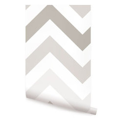 Chevron Grey - Chevron peel & stick fabric wallpaper. This re-positionable wallpaper is designed and made in our studios in New Jersey. The designs are printed onto an adhesive backed fabric that can be removed, repositioned and reused over and over again. They do not leave any residue on your walls and are ideal for DIY room makeovers without the mess and headaches of traditional wallpaper.