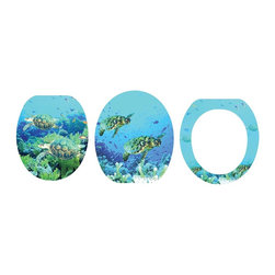 Renovators Supply - Toilet Seats Brass PVD Fiber Turtles Toilet Seat Round | 16936 - Sea Turtles Toilet Seat: First Swim West: Printed MDF toilet seats: Made of densely engineered fibers this seat is designed for maximum strength and durability and easily outlasts all other MDF seats. Fits over standard size toilet bowls and comes in a variety of prints. Printed on all 3 sides this seat is always decorative when the lid is up or down! Made of sturdy polymer, the bumpers prevent rocking and keep the seat safely in place. Solid brass swivel hinges are easily adjustable 3 5/8 inch to 7 1/2 inch and easier to clean. PVD - Physical Vapor Deposition protects solid brass hinges from tarnishing for years to come. Seat measures: 15 13/16 inch x 14 9/16 inch Lid measures: 14 5/16 inch x 13 1/8 inch Round shape.