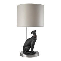 """Lladro Porcelain - Lladro Attentive Greyhound Lamp - Plus One Year Accidental Breakage Replacement - """"Hand Made In Valencia Spain - Sculpted By: Jose Luis Santes - Lamp Shade Is Included - Included with this sculpture is replacement insurance against accidental breakage. The replacement insurance is valid for one year from the date of purchase and covers 100% of the cost to replace this sculpture (shipping not included). However once the sculpture retires or is no longer being made, the breakage coverage ends as the piece can no longer be replaced. """""""