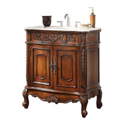 """Unique Classic Benson Bathroom Sink Vanity/ Mirror incl 33"""" - Give your bathroom an upscale appearance with this striking Bathroom Sink Cabinet. This piece is carefully handcrafted of sturdy wood. A smooth, rich finish brings out the luster of the wood while enhancing the intricate carved acanthus leaf details. A beautiful hand-polished marble counter top completes the look for a sumptuous effect."""