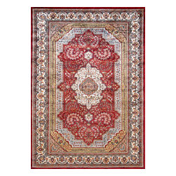 Rugsville - Rugsville Kashmir Medallion Red Ivory   Silk Rug 11002-5x7 - Kashmir carpet is single knot weave for softness.The Carpet colors are more jewel tones. Natural dyes are used for coloring the yarn. At the center of the field of this exquisite rug is a medallion in a concentric circle motif. The most popular design of these carpets is medallion carpet.The single knot pile is less resistant to touch and pressure. All the carpet are quite unique in themselves. Each piece a master pieces others by their color-way and other details. Colors of the rug red and blue.