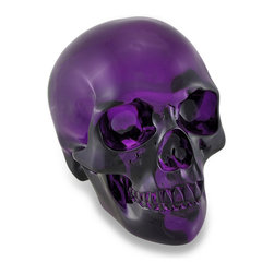 Zeckos - Transparent Purple Crystal Look Skull Statue - Both cool and macabre, this ancient symbol of the passage of life is exquisitely rendered in a transparent purple acrylic material adding dimension and a highly unique finish making it look just like crystal. Measuring 5.25 inches (13 cm) high, 4.75 inches (12 cm) wide and 7 inches (18 cm) deep, this beautiful work of skull art reflects the fine line between other worlds and our own. It's a must-have piece for your skull collection and a great gift for someone who will cherish its artistic appeal