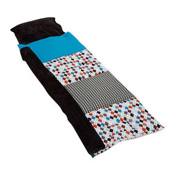 Janiebee Quilted Nap Mats - Boys Life Quilted Nap Mat by Janiebee - Boys Life features traditional argyle inspiration fabric in gray, rust, black, white and teal.  Complimentary fabric in solid teal and black and white Zombie design by Cloud 9. Minky blanket and pillowcase in Black minky dimple dot.