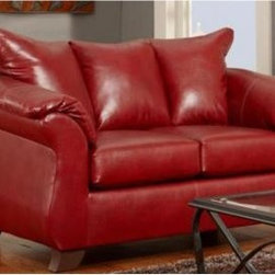 Chelsea Home Armstrong Leather Loveseat - Sierra Red - The obvious match to Chelsea's larger Armstrong Sofa model but spacious and bold enough to stand on its own inside smaller living spaces such as compact living rooms and studio apartments this Chelsea Home Armstrong Leather Loveseat - Sierra Red is an ideal landing spot for relaxing activities such as watching television to productive one such as getting work done on your laptop. The loveseat appears in a bold red color made of leather upholstery and features cushions constructed from 1.8 density leather combined with an innovative sinuous spring system that provides an optimal mix of comfort (for activities such as the television watching) and support (for activities such as the laptop working). The cushions are wrapped in Dacron polyester which prevents annoying slipping or sliding when you adjust your position or reach towards the coffee table for your beverage and at 70 inches the loveseat is spacious enough for two taking in a movie or watching sports. Seat cushions measure 70 inches wide. About Chelsea Home FurnitureProviding home elegance in upholstery products such as recliners stationary upholstery leather and accent furniture including chairs chaises and benches is the most important part of Chelsea Home Furniture's operations. Bringing high quality classic and traditional designs that remain fresh for generations to customers' homes is no burden but a love for hospitality and home beauty. The majority of Chelsea Home Furniture's products are made in the USA while all are sought after throughout the industry and will remain a staple in home furnishings.