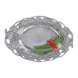 Grape Oval Tray with Fretwork