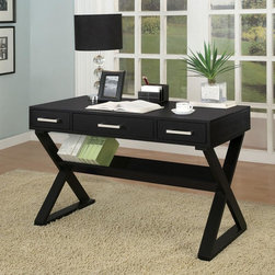 Coaster - Black Casual Desk - Office desk available in black or white with three drawers. Complete with bookshelf.
