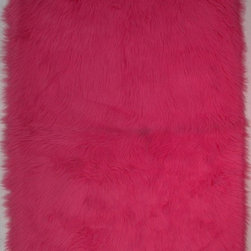 "Fun Rugs - Kids Flokati 3'3""x4'10"" Rectangle Hot Pink Area Rug - The Flokati area rug Collection offers an affordable assortment of Kids stylings. Flokati features a blend of natural Hot Pink color. Machine Made of 100% Polyester the Flokati Collection is an intriguing compliment to any decor."
