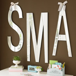 Mirrored Wall Letters - These large, mirrored letters can spell out initials or names. I also like to use mirrors as decorations in rooms that seem small or need some lighting help, such as hallways or entryways.