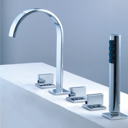 Roman Tub Faucet With Hand Shower For 5-Hole Tub - Features: