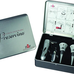 Preservino - Preservino Standard Bottle Opener - Preservino Ppv-1 Preservino StandardBrand: Preservino. PVOPPV1. Uses 100% Argon Technology To Preserve Open Bottles Of Wine. Locks In Freshness . Packaged In A Stylish Brushed Metal Gift Box. Includes A Dispenser, An Argon Cartridge & 2 Patented Wine StoppersProduct Class: Electronics-OtherUPC: 182501000137Manufacturer's Warranty: One Year
