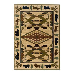 "Oriental Weavers - Southwestern/Lodge Hudson 3'10""x5'5"" Rectangle Ivory-Green Area Rug - The Hudson area rug Collection offers an affordable assortment of Southwestern/Lodge stylings. Hudson features a blend of natural Ivory-Green color. Machine Made of Polypropylene the Hudson Collection is an intriguing compliment to any decor."
