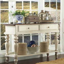 Hillsdale Furniture - Pine Island Sideboard - Revitalize décor with this timelessly charming piece that boasts turned feet. Stow away items in the two drawers and lower open shelf.   35'' W x 60'' H x 18'' D Wood Assembly required Imported