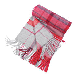 """KUNA - Jimena Throw, Red - Contrasting two-toned plaid patterns. A bold classic. 63"""" long x 51"""" wide and 23 ounces."""