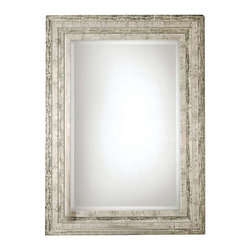 "Uttermost Hallmar Wood Mirror - Distressed silver leaf with black undertones and light gray glaze. This solid wood frame features a lightly distressed silver leaf finish with black undertones and light gray glaze. Mirror has a generous 1 1/4"" bevel. May be hung either horizontal or vertical."