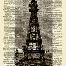 Altered Artichoke - Lighthouse Seaside Ocean Dictionary Print, Sepia - This print features a beautiful antique illustration of a lighthouse. We're not sure which lighthouse this is, but it is lovely, isn't it?