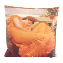 Poetic Pillow - Frederick Lord Leighton Flaming June Pillow - Transform any space with a pillow from Poetic Pillow. Each pillow is inspired by fine works of art and printed on the front and back.   Covers are made of pre-shrunk satin-like polyester fabric. All seams are finished to prevent fraying and pillow covers have a knife edge finish.. A concealed zipper allows for ease of inputting pillow inserts.  A duck feather insert is included for soft yet supportive feel.  Cushion inserts are encased in a cotton cover and filled with 100% duck feather.  All research, design and packaging is completed in Oakland, California.