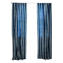 "IChcha - Beach House Window Curtain, 84"" - Mix and Match Pair of Stripes and Toiles, a unique interpretation of History done in its original form, hand block printing. The Panels are hand block printed and colored with natural dyes! The pair is fresh and transforms your house into a 'Beach House'."