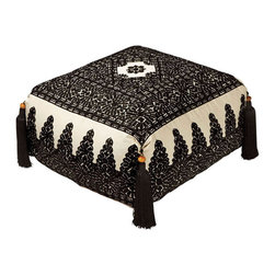 Moroccan Poufs Linen Embroidery Pouf - I love this graphic black and white pattern and the giant tassels on the ends of this pouf.