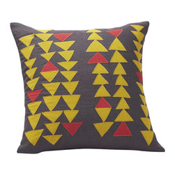 Coyuchi - Triangle Row Pillow, Gray/Yellow - Appliqued with chains of cotton triangles, our linen pillow echoes both traditional quilts and modern art. The cover closes at the back with coconut shell buttons. Removable kapok insert included.