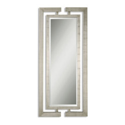 Uttermost - Jamal Silver Mirror - Grand entrances need grand accessories. This lofty mirror will strike the right pose whether it's in the foyer or not. It's designed by Grace Feyok and features dual wooden frames with a scratched silver leaf finish.  It's an impressive piece with a dramatic effect.