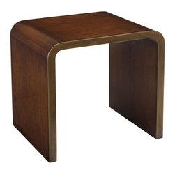 John Richard - John Richard Waterfall Side Table EUR-03-0451 - Veneered in American black walnut with a framing of oiled brass effect moldings.