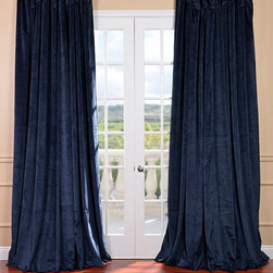 """Signature Midnight Blue Double Wide Velvet Blackout Pole Pocket Curtain - Soft plush pile """"Velvet Curtains"""" have a natural luster with a depth of color that creates a formal, polished look. Made of high-quality, poly velvet and soft flowing polyester blackout thermal lining. The curtains keep the light out and provides for optimal insulation."""