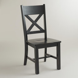 World Market - Antique Black Verona Side Chairs, Set of 2 - Inspired by rustic, Italian farmhouse design, our Antique Black Verona Side Chair has a unique ''X'' back detail, wide planked seat and distressed finish. Crafted of hardwood in rich antique black, it's an elegant addition to any dining space.