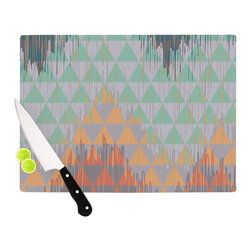 "Kess InHouse - Nika Martinez ""Ikat Geometrie"" Green Orange Cutting Board (11"" x 7.5"") - These sturdy tempered glass cutting boards will make everything you chop look like a Dutch painting. Perfect the art of cooking with your KESS InHouse unique art cutting board. Go for patterns or painted, either way this non-skid, dishwasher safe cutting board is perfect for preparing any artistic dinner or serving. Cut, chop, serve or frame, all of these unique cutting boards are gorgeous."