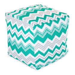 Majestic Home - Outdoor Pacific Zazzle Small Cube - Add style and color to your living room or outdoor seating arrangement with Majestic Home Goods Small Cube Ottoman. This cube is perfect for use as a footstool, side table or as extra seating for guests. Woven from outdoor treated polyester, these cubes have up to 1000 hours of U.V. protection and are able to withstand all of natures elements. The beanbag inserts are eco-friendly by using up to 50% recycled polystyrene beads, and the removable zippered slipcovers are conveniently machine-washable.