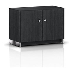 Geiger - Sled Base Credenza, 2 Doors - Bathed in a warm tone, this office credenza fits into ...
