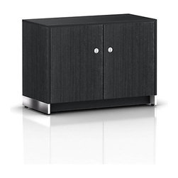Geiger - Sled Base Credenza, 2 Doors - Bathed in a warm tone, this office credenza fits into just about any decor. The metal accents in the dual handle pulls and base give an added touch of sophisticated shine.