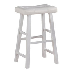 """Poundex - Poundex Electrik Series 30"""" Bar Chair in White (Set of 2) - Poundex - Bar Stools - F1242 - An angelic style with all white stools featuring painters style framed legs and plush rectangular shaped seat cushions draped in faux leather. Available in a counter stool and barstool height."""