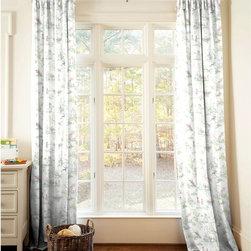 Nursery Rhyme Toile Sage Drapes - Window drape panel and ties in Nursery Rhyme Toile. 100% Cotton.