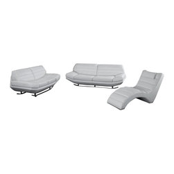 VIG Furniture - 3979 White Top Grain Leather 3 Piece Sofa Set - The 3979 sofa set will be a great addition to your decor and have you relaxing in modern luxury. This sofa set comes upholstered in a beautiful white top grain leather in the front where your body touches. Skillfully chosen match material is used on the back and sides where contact is minimal. High density foam is placed within the cushions for added comfort. Each piece features a tufted design that adds to the overall look.