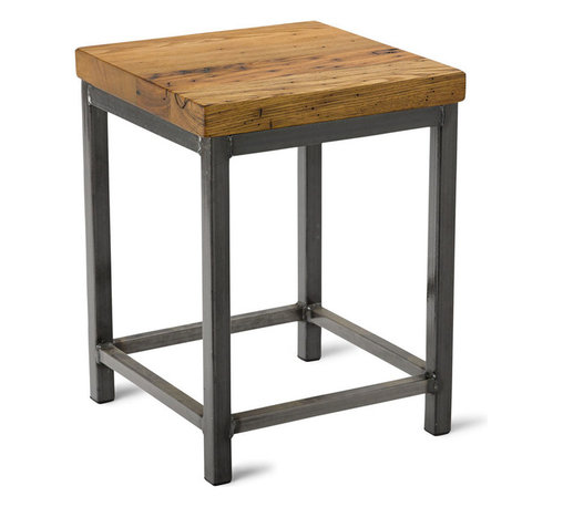 """Vermont Farm Table - Square Metal Stool, Reclaimed Chestnut, 18""""h - Reclaimed wood combined with sleek metal elements are the guiding principals behind good industrial design. This stool, in your choice of three heights, embodies the best of the modern trend. It's stylish seating that plays well in the contemporary kitchen."""