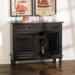 Dehaviland 2-Drawer Console - Need some extra storage in a dining room or living room, but just don't have space for a large console?  The Dehaviland 2-Drawer Console comes to the rescue.  In addition to a small buffet, this piece would make a great little bar with storage beneath for wine, liquors, and glasses and space on top for pouring and serving drinks.  The drawers would be handy for storing away cork screws, stirrers and other bar needs.